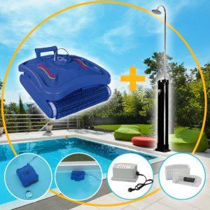 Art.Nr.35000_Pool-Boden-Wand-Reinigungsroboter 230V + 18 Liter Solardusche